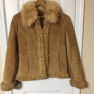 Guess Tan Suede Faux Fur Embroidered Jacket, Med